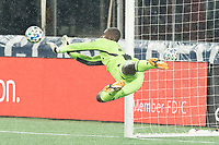 FOXBOROUGH, MA - NOVEMBER 1: Bill Hamid #24 of DC United saves a shot on goal during a game between D.C. United and New England Revolution at Gillette Stadium on November 1, 2020 in Foxborough, Massachusetts.