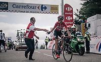 Lars Bak (DEN/Lotto-Soudal) grabbing a last bidon up the Mur de Péguère (Cat1/1375m/9.3km/7.9%)<br /> <br /> 104th Tour de France 2017<br /> Stage 13 - Saint-Girons › Foix (100km)