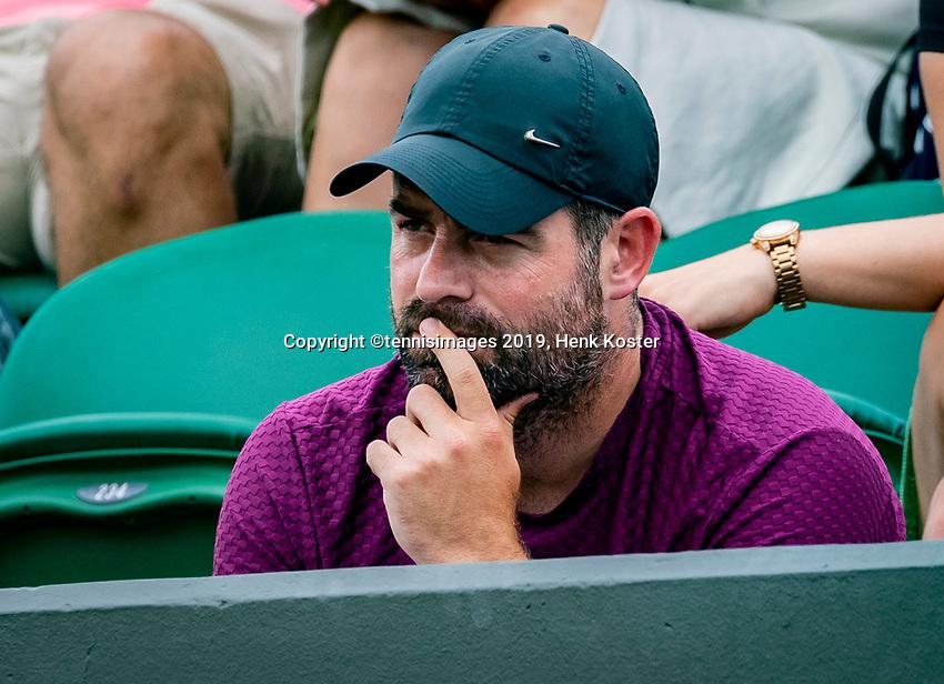 London, England, 6 July, 2019, Tennis,  Wimbledon, Womans single: the coach of Kiki Bertens (NED) Raemon Sluiter (NED)<br /> Photo: Henk Koster/tennisimages.com