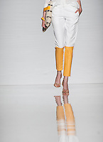 """Una modella presenta una creazione di Quattromani, finalista del progetto """"Who is on next?"""" durante la rassegna Altaroma a Roma, 8 luglio 2013.<br /> A model wears a creation of Quattromani, finalist of """"Who is on next?"""" project, at the Altaroma fashion week in Rome, 8 July 2013.<br /> UPDATE IMAGES PRESS/Virginia Farneti"""