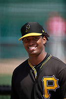 Pittsburgh Pirates Domingo Robles (31) during a minor league Spring Training game against the Philadelphia Phillies on March 13, 2019 at Pirate City in Bradenton, Florida.  (Mike Janes/Four Seam Images)