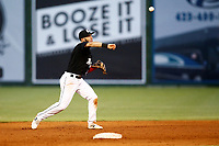 Chattanooga Lookouts second baseman Alex Perez (2) throws to first base after fielding a Montgomery biscuit hit ball on May 26, 2018 at AT&T Field in Chattanooga, Tennessee. (Andy Mitchell/Four Seam Images)