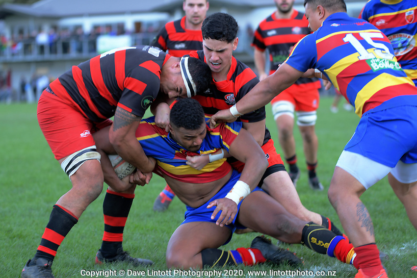 Action from the Swindale Shield Wellington premier men's club rugby union match between Poneke and Tawa at Kilbirnie Park in Wellington, New Zealand on Saturday, 4 July 2020. Photo: Dave Lintott / lintottphoto.co.nz