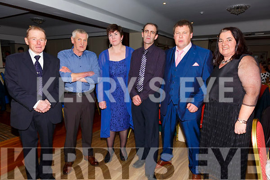 The South & Mid Kerry Rowing Committee pictured at their Social in The Royal Hotel Valentia on Sunday night were l-r; Michael O'Connor(Treasurer - Caherdaniel), Denny Crimmins(Templenoe - Vice Chair), Johanna King(Cromane - Sec), Adrian Fitzgerald(Asst. Treas - Sneem), Gearoid King(Chairman - Valentia) & Mary B.Teehan(Cromane - PRO).