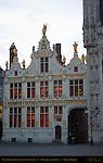 Civil Registry at Dawn, Renaissance Facade 1543, Burg Square, Bruges, Brugge, Belgium