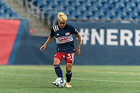 FOXBOROUGH, MA - AUGUST 7: Ryo Shimazaki #31 of New England Revolution II passes the ball during a game between Orlando City B and New England Revolution II at Gillette Stadium on August 7, 2020 in Foxborough, Massachusetts.