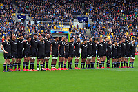 The All Blacks line up for the national anthems before the Bledisloe Cup rugby union match between the New Zealand All Blacks and Australia Wallabies at Sky Stadium in Wellington, New Zealand on Sunday, 11 October 2020. Photo: Dave Lintott / lintottphoto.co.nz