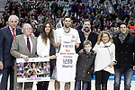 Real Madrid's Felipe Reyes historical maximum rebounder of the Euroleague with his family, Emiliano Rodriguez and Clifford Luyk during Euroleague match.February 5,2015. (ALTERPHOTOS/Acero)