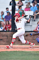 Johnson City Cardinals first baseman Hunter Newman (32) swings at a pitch during a game against the Kingsport Mets on June 25, 2015 in Johnson City, Tennessee. The Mets defeated the Cardinals 10-8 (Tony Farlow/Four Seam Images)