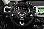 Car pictures of steering wheel view of a 2018 Jeep Compass Latitude 5 Door SUV