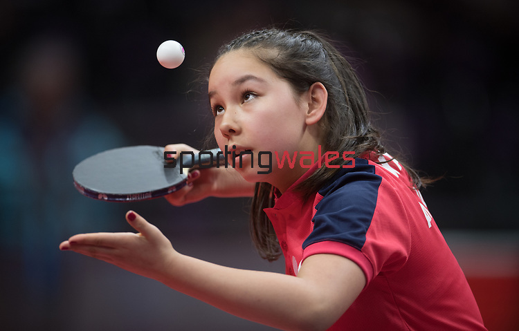 Wales Anna Hursey in action during her Singles match against Halima Nambozo of Uganda <br /> <br /> *This image must be credited to Ian Cook Sportingwales and can only be used in conjunction with this event only*<br /> <br /> 21st Commonwealth Games - Table tennis -  Day 6 - 10\04\2018 - Oxenford - Gold Coast City - Australia