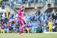 18th April 2021; Leichardt Oval, Sydney, New South Wales, Australia; A League Football, Sydney Football Club versus Adelaide United; Andrew Redmayne of Sydney  celebrates after his team take the lead in the 19th minute through a goal by Bobo