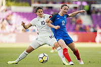 Orlando City, FL - Wednesday March 07, 2018: Dzsenifer Marozsan, Gaëtane Thiney during a 2018 SheBelieves Cup match between the women's national teams of Germany (GER) and France (FRA) at Orlando City Stadium.