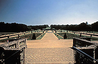 Panoramic view of Vaux-le-Vicomte Chateau designed by Louis le Vau in Baroque style. Formal gardens and walkways. Maincy, France