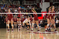 STANFORD, CA - NOVEMBER 17: Stanford, CA - November 17, 2019: Kate Formico, Kathryn Plummer, Morgan Hentz, Jenna Gray at Maples Pavilion. #4 Stanford Cardinal defeated UCLA in straight sets in a match honoring neurodiversity. during a game between UCLA and Stanford Volleyball W at Maples Pavilion on November 17, 2019 in Stanford, California.