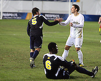 Ben Speas #17 of the University of Akron greets Adam Shaw #5 of the University of Michigan after the 2010 College Cup semi-final at Harder Stadium, on December 10 2010, in Santa Barbara, California. Akron won 2-1.