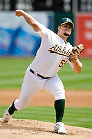6 April 2008: A's #55 Joe Blanton pitches during the Cleveland Indians 2-1 victory over the Oakland Athletics at the McAfee Coliseum in Oakland, CA.