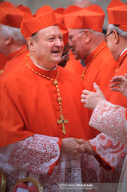Italian newly appointed Cardinal Gianfranco Ravasi (C) gets his biretta, the square red hat symbolising the blood of the martyrs, from Pope Benedict XVI (L) on November 20, 2010 during a consistory at St Peter's basilica at The Vatican. 24 Roman Catholic prelates join today the Vatican's College of Cardinals, the elite body that advises the pontiff and elects his successor upon his death.