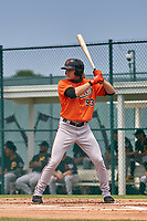 Baltimore Orioles Gunnar Henderson (93) bats during a Minor League Spring Training game against the Pittsburgh Pirates on April 21, 2021 at Pirate City in Bradenton, Florida.  (Mike Janes/Four Seam Images)
