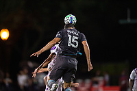 LAKE BUENA VISTA, FL - AUGUST 06: Michael Boxall #15 of Minnesota United FC heads the ball during a game between Orlando City SC and Minnesota United FC at ESPN Wide World of Sports on August 06, 2020 in Lake Buena Vista, Florida.