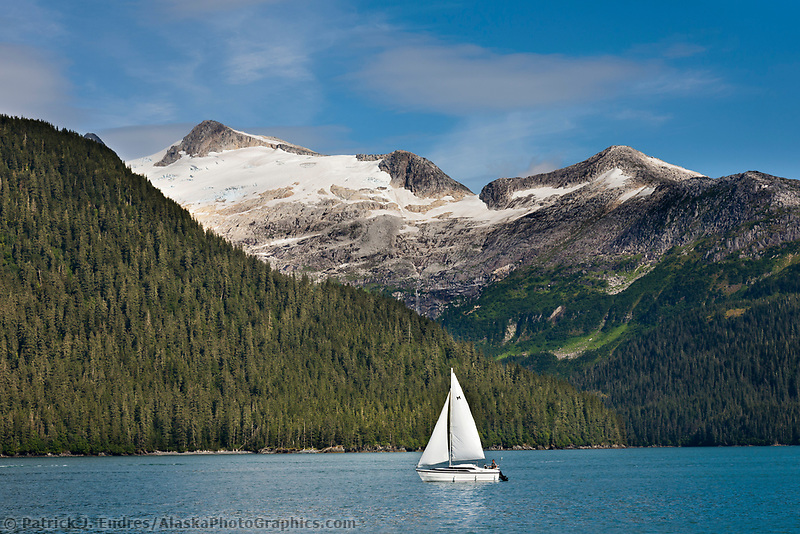 Sailboat in Passage Canal, near Whittier, Alaska. Passage, Canal, Chugach National Forest, southcentral, Alaska.