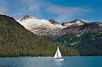 Sailboat in Passage Canal, near Whittier, Alaska. Passage, Canal, Chugach National Forest, southcentral, Alaska.