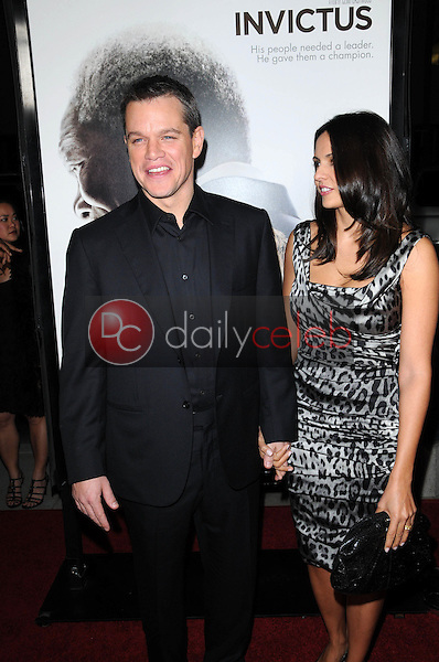 """Matt Damon and wife Luciana Barroso<br /> at the """"Invictus"""" Los Angeles Premiere, Academy of Motion Picture Arts and Sciences, Beverly Hills, CA.  12-03-09<br /> David Edwards/Dailyceleb.com 818-249-4998"""