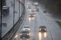 "Monday  21 November 2014<br /> Pictured: Poor Driving Conditions on the M4 Near Swansea <br /> Re: A yellow ""be aware"" weather warning has been issued as widespread heavy rain hits the country. The Met Office said gusts of winds could hit 50mph (80km/h) with localised flooding and disruption to travel."