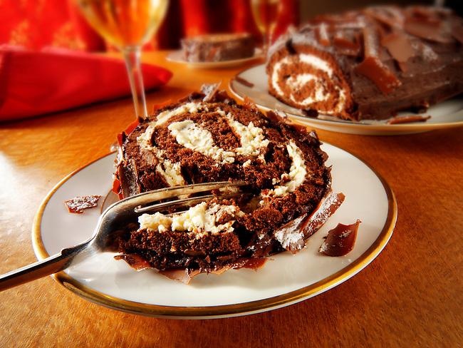 Traditional chocolate Swiss roll or log.