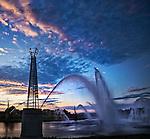 Riverscape fountains summer evening in Dayton OHio