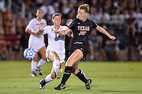Texas State midfielder Landry Lowe (12) and Texas midfielder Morgan Murphy (30) fight for the ball during an NCAA soccer game, Sunday, September 21, 2014 in San Marcos, Tex. Texas defeated Texas State 2-0. (Mo Khursheed/TFV Media via AP Images)