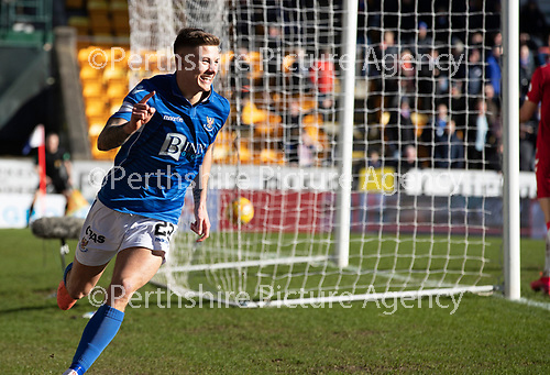 St Johnstone v Rangers…..23.02.20   McDiarmid Park   SPFL<br />Callum Hendry celebrates his goal<br />Picture by Graeme Hart.<br />Copyright Perthshire Picture Agency<br />Tel: 01738 623350  Mobile: 07990 594431