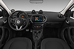 Stock photo of straight dashboard view of a 2018 Smart forfour Passion 5 Door Hatchback