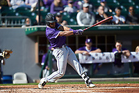 Jordan Starkes (23) of the Furman Paladins follows through on his swing against the Wake Forest Demon Deacons at BB&T BallPark on March 2, 2019 in Charlotte, North Carolina. The Demon Deacons defeated the Paladins 13-7. (Brian Westerholt/Four Seam Images)