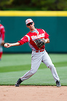 David Compitello (8) of the Bradley Braves throws to first during a game against the Missouri State Bears on May 13, 2011 at Hammons Field in Springfield, Missouri.  Photo By David Welker/Four Seam Images