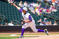 Starting pitcher Cameron Bayne #13 of the Winston-Salem Dash delivers a pitch to the plate against the Kinston Indians at BB&T Ballpark on April 17, 2011 in Winston-Salem, North Carolina.   Photo by Brian Westerholt / Four Seam Images