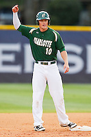 Justin Seager (10) of the Charlotte 49ers stands on second base after hitting a double against the High Point Panthers at Willard Stadium on February 20, 2013 in High Point, North Carolina.  The 49ers defeated the Panthers 12-3.  (Brian Westerholt/Four Seam Images)