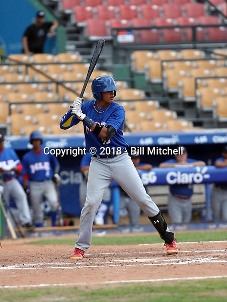 Diego Cartaya participates in the MLB Showcase at the Estadio Quisqeye Juan Marichal on February 21-22, 2018 in Santo Domingo, Dominican Republic.