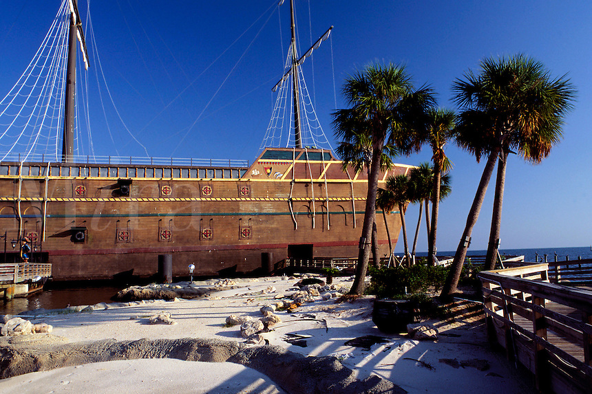 """The Treasure Bay Casino, an """"""""offshore"""""""" gambling casino, actually looks like an old pirate ship. Biloxi, Mississippi"""
