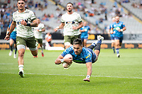 14th March 2021; Eden Park, Auckland, New Zealand;  Blues Rieko Ioane dives over for a disallowed try because of a forward pass - during the Super Rugby Aotearoa rugby match between the Blues and the Highlanders held at Eden Park, Auckland, New Zealand.