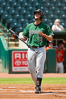 Joey Rapp (26) of the Augusta GreenJackets at bat against the Greensboro Grasshoppers at NewBridge Bank Park on August 11, 2013 in Greensboro, North Carolina.  The GreenJackets defeated the Grasshoppers 6-5 in game one of a double-header.  (Brian Westerholt/Four Seam Images)