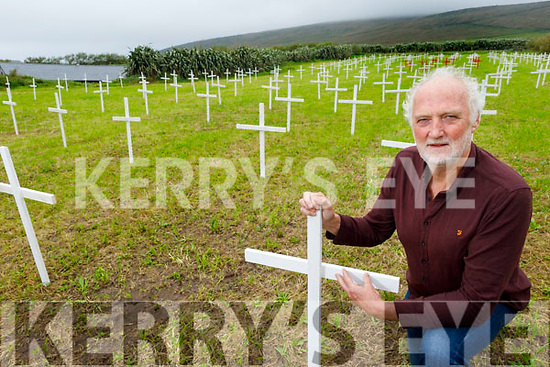Musician Breanndán Ó Beaglaoich has erected 243 white crosses on his land at Baile na bPoc to represent all the people who lived in the village in 1841 and 12 red crosses representing the village population in 2020.