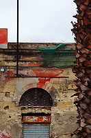 Taranto: an old modern coloured particular, with the trunk of a palm tree on a side, and the top of a low building in the center. The wall is striped, and the top part of  the closed shutter is rusted. The shutter is surmounted by an arc window that is closed by a grille, and there are the remainders of some red painting and a green protection net that covers some electrical cables, too.