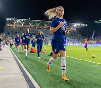 ORLANDO, FL - JANUARY 18: Kristie Mewis #22 of the USWNT leaves the field after warmups before a game between Colombia and USWNT at Exploria Stadium on January 18, 2021 in Orlando, Florida.