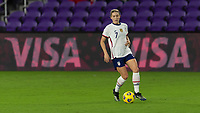 ORLANDO CITY, FL - FEBRUARY 18: Abby Dahlkemper #7 controls the ball during a game between Canada and USWNT at Exploria stadium on February 18, 2021 in Orlando City, Florida.