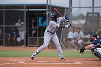 AZL Padres 1 first baseman Carlos Luis (25) at bat during an Arizona League game against the AZL Padres 2 at Peoria Sports Complex on July 14, 2018 in Peoria, Arizona. The AZL Padres 1 defeated the AZL Padres 2 4-0. (Zachary Lucy/Four Seam Images)