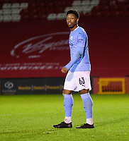 Manchester City U21's Keyendrah Simmonds<br /> <br /> Photographer Andrew Vaughan/CameraSport<br /> <br /> EFL Papa John's Trophy - Northern Section - Group E - Lincoln City v Manchester City U21 - Tuesday 17th November 2020 - LNER Stadium - Lincoln<br />  <br /> World Copyright © 2020 CameraSport. All rights reserved. 43 Linden Ave. Countesthorpe. Leicester. England. LE8 5PG - Tel: +44 (0) 116 277 4147 - admin@camerasport.com - www.camerasport.com