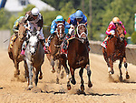 May 19, 2012 Hamazing Destiny (#7, blue cap), Corey Nakatani up, wins the 26th running of the Grade III Maryland Sprint Handicap at Pimlico Race Course in Baltimore, Maryland. photo by Joan Fairman Kanes