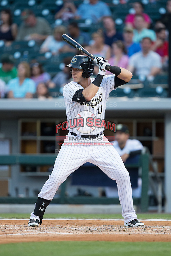 Nicky Delmonico (10) of the Charlotte Knights at bat against the Syracuse Chiefs at BB&T BallPark on June 1, 2016 in Charlotte, North Carolina.  The Knights defeated the Chiefs 5-3.  (Brian Westerholt/Four Seam Images)
