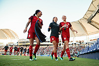 Carson, CA - Thursday August 03, 2017: Sydney Leroux, Alex Morgan, Allie Long prior to a 2017 Tournament of Nations match between the women's national teams of the United States (USA) and Japan (JPN) at the StubHub Center.